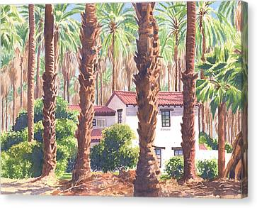 Dates Canvas Print - House Among Date Palms In Indio by Mary Helmreich