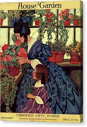 House And Garden Christmas Gift Number Cover Canvas Print by Ethel Franklin Betts Baines