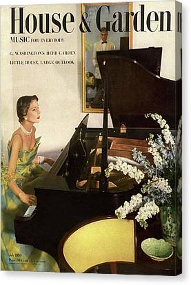 House And Garden Cover Featuring A Woman Playing Canvas Print by Horst P. Horst