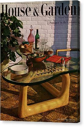 Weekend Canvas Print - House And Garden Cover Featuring Brunch by John Rawlings