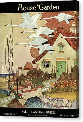 Flock Of Birds Canvas Print - House And Garden Fall Planting Guide by Charles Livingston Bull