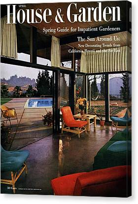 House And Garden Featuring A Living Room Canvas Print by Julius Shulman