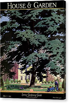 Guides Canvas Print - House And Garden Spring Gardening Guide Cover by Pierre Brissaud