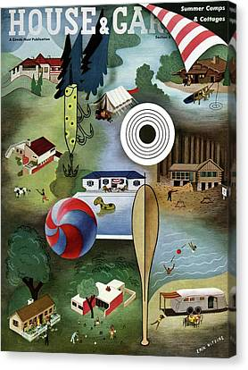 House And Garden Summer Camps And Cottages Cover Canvas Print by Erik Nitsche