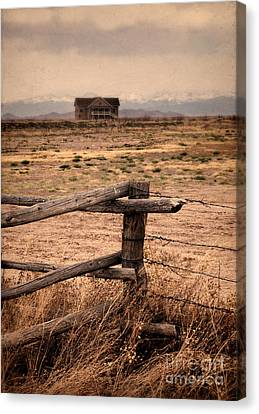 House And Mountains Canvas Print