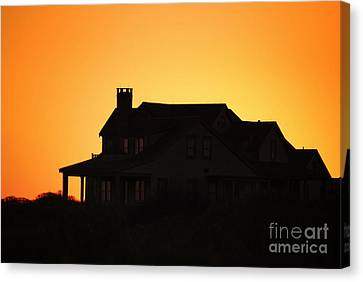 House And Sunset Canvas Print by Sabine Jacobs