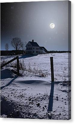 Canvas Print featuring the photograph House At Night by Larry Landolfi