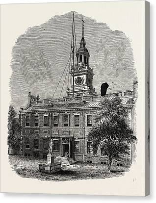 House At Philadelphia In Which The First Congresses Canvas Print by American School