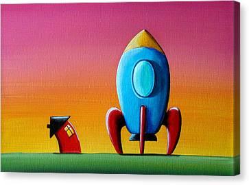 House Builds A Rocketship Canvas Print