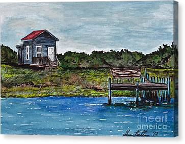 House By The Sea Canvas Print by Sheena Pape