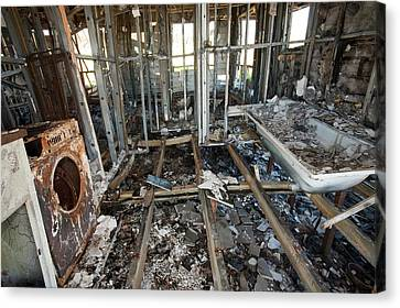 House Destroyed By Bush Fire Canvas Print by Ashley Cooper