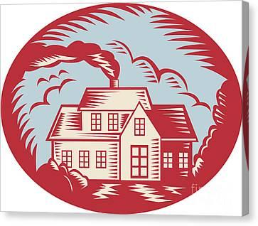 House Homestead Cottage Woodcut Canvas Print by Aloysius Patrimonio