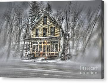 House In Snow Canvas Print by Dan Friend