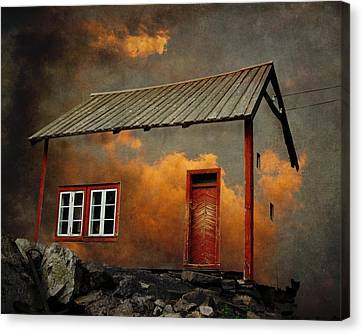 Houses Canvas Print - House In The Clouds by Sonya Kanelstrand
