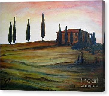 House In Tuscany Canvas Print by Christine Huwer