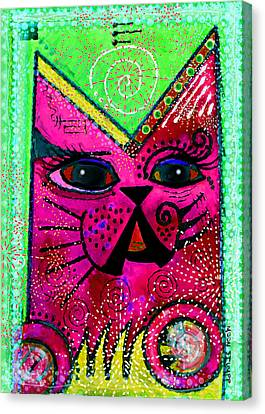 House Of Cats Series - Glitter Canvas Print by Moon Stumpp