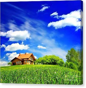 House On Green Canvas Print by Boon Mee