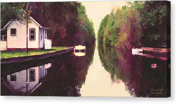 House On The C And O Canal Canvas Print by Spyder Webb