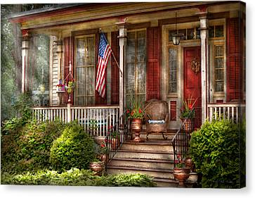 House - Porch - Belvidere Nj - A Classic American Home  Canvas Print by Mike Savad