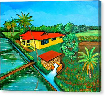House With A Water Pump Canvas Print