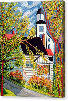 House With Church Badeck Canvas Print by Patricia Eyre