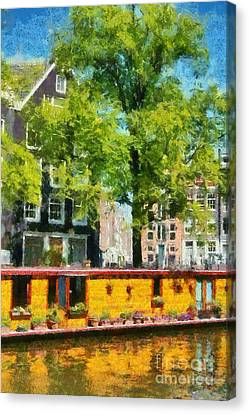 Netherlands Canvas Print - Houseboat In Amsterdam by George Atsametakis