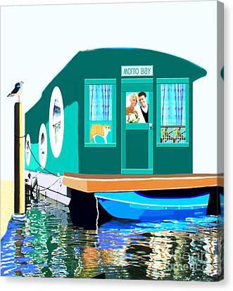 Canvas Print featuring the painting Houseboat by Marian Cates