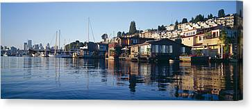 Houseboats In A Lake, Lake Union Canvas Print by Panoramic Images