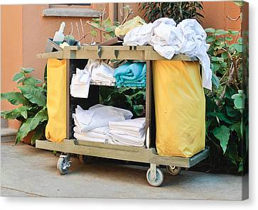 Housekeeping Trolley Canvas Print by Tom Gowanlock