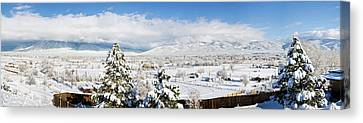 Houses And Trees Covered With Snow Canvas Print