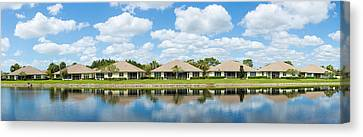 Houses Around Small Lake In North Port Canvas Print