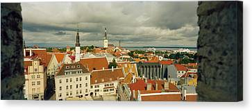 Houses In A Town, Tallinn, Estonia Canvas Print by Panoramic Images