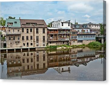 Canvas Print featuring the photograph Houses In Elora Ontario by Marek Poplawski
