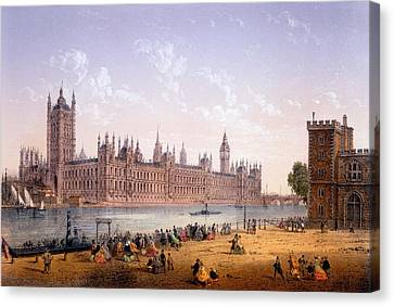 Houses Of Parliament From The South Canvas Print by Achille-Louis Martinet