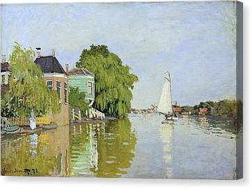 Houses On The Achterzaan Canvas Print by Claude Monet