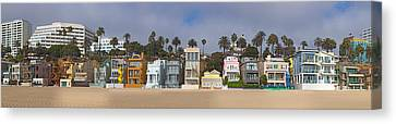 Houses On The Beach, Santa Monica, Los Canvas Print by Panoramic Images
