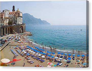 Houses On The Sea Coast, Amalfi Coast Canvas Print by Panoramic Images