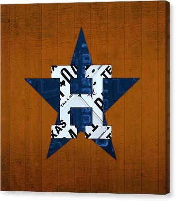Houston Astros Canvas Print - Houston Astros Baseball Team Vintage Logo Recycled Texas License Plate Art by Design Turnpike