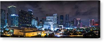 Downtown Canvas Print - Houston City Lights by David Morefield