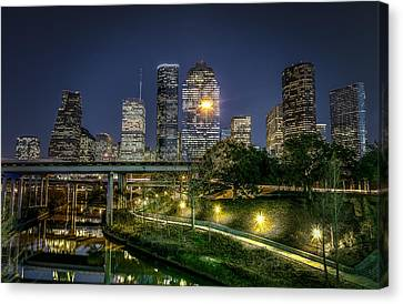 Downtown Canvas Print - Houston On The Bayou by David Morefield