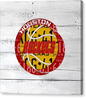 Houston Rockets Basketball Team Retro Logo Vintage Recycled Texas License Plate Art Canvas Print by Design Turnpike