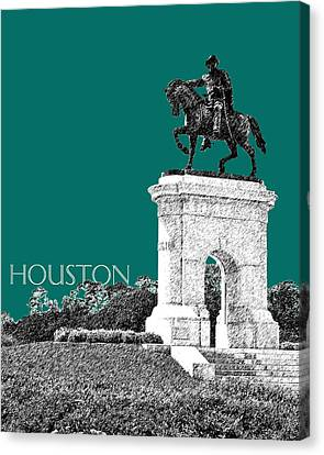 Houston Sam Houston Monument - Sea Green Canvas Print by DB Artist