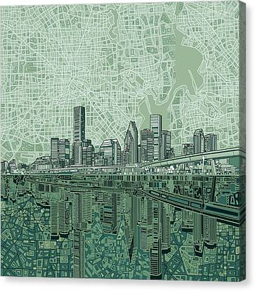 Silhouettes Canvas Print - Houston Skyline Abstract 2 by Bekim Art