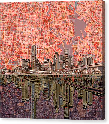 Abstract Digital Canvas Print - Houston Skyline Abstract 5 by Bekim Art