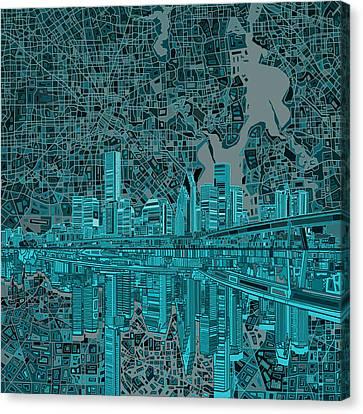 Modern Digital Art Digital Art Canvas Print - Houston Skyline Abstract 7 by Bekim Art