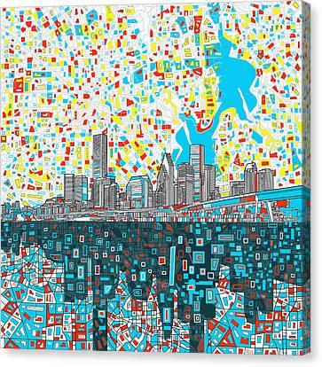 Abstract Digital Canvas Print - Houston Skyline Abstract 8 by Bekim Art