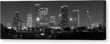 Urban Scenes Canvas Print - Houston Skyline At Night Black And White Bw by Jon Holiday