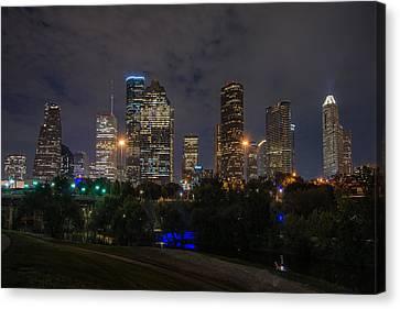 Houston Skyline At Night Canvas Print