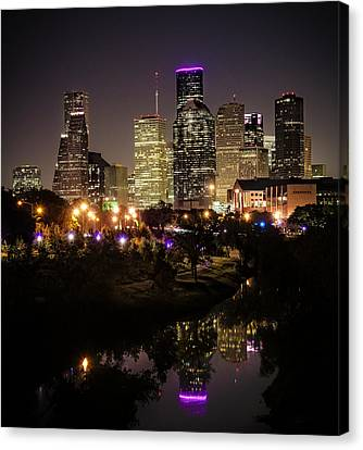 Houston Skyline From Buffalo Bayou Canvas Print by Andy Crawford