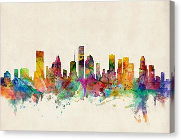 Silhouettes Canvas Print - Houston Texas Skyline by Michael Tompsett